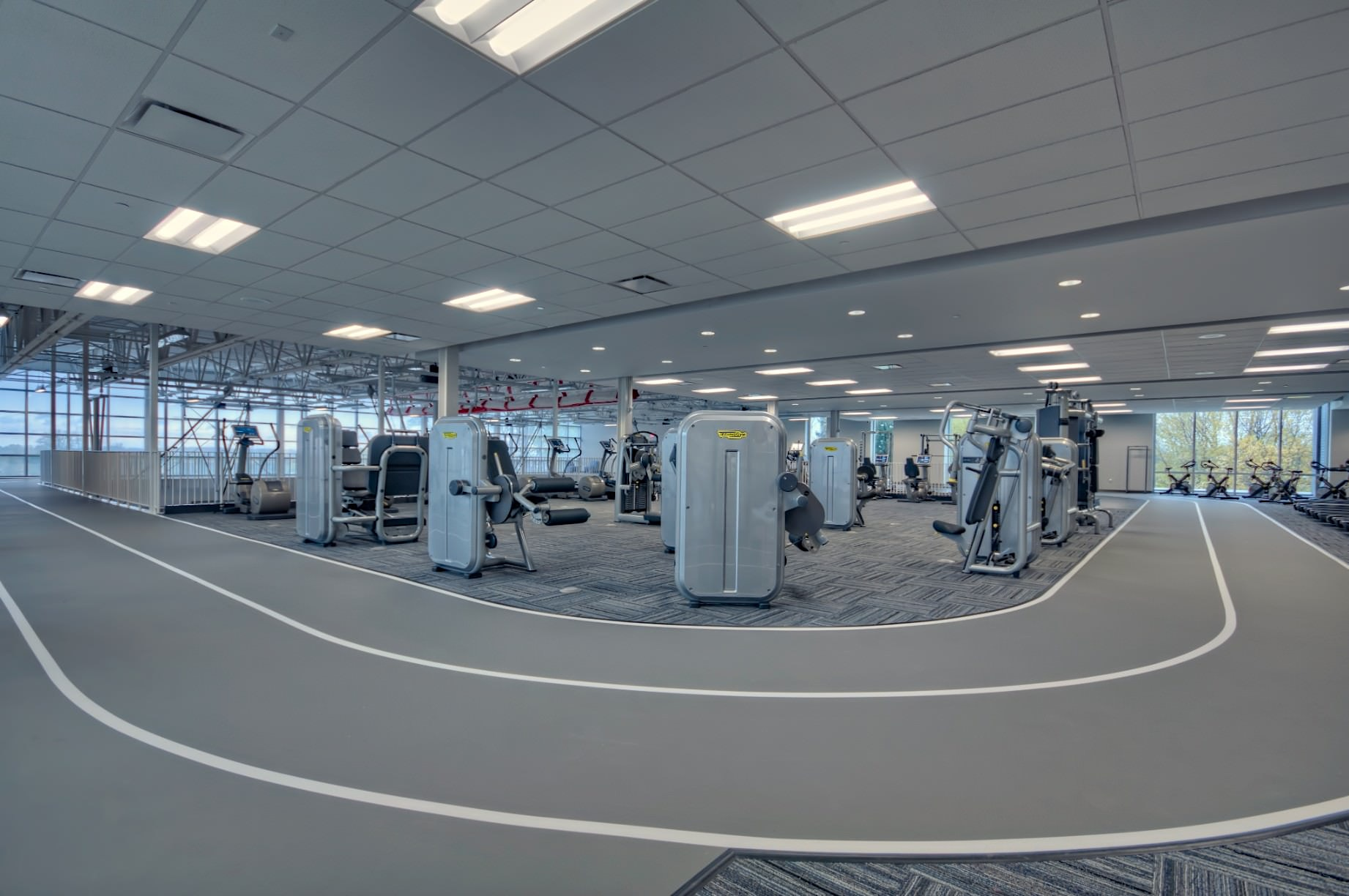 Interior architectural photography of fitness area at the Komoka Wellness Centre