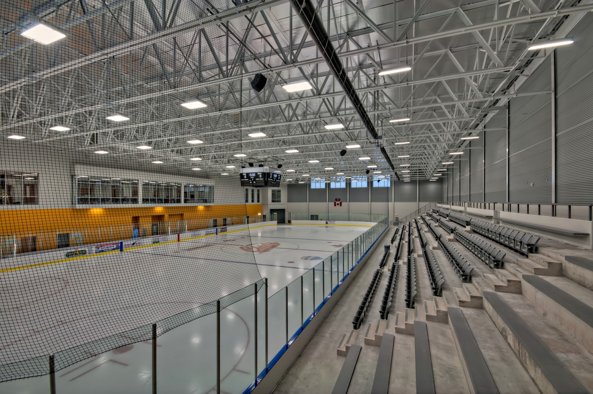 Interior architectural photography of skating rink area at the Komoka Wellness Centre