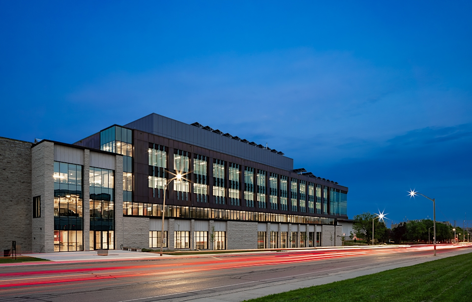 New engineering building during twilight at Western University