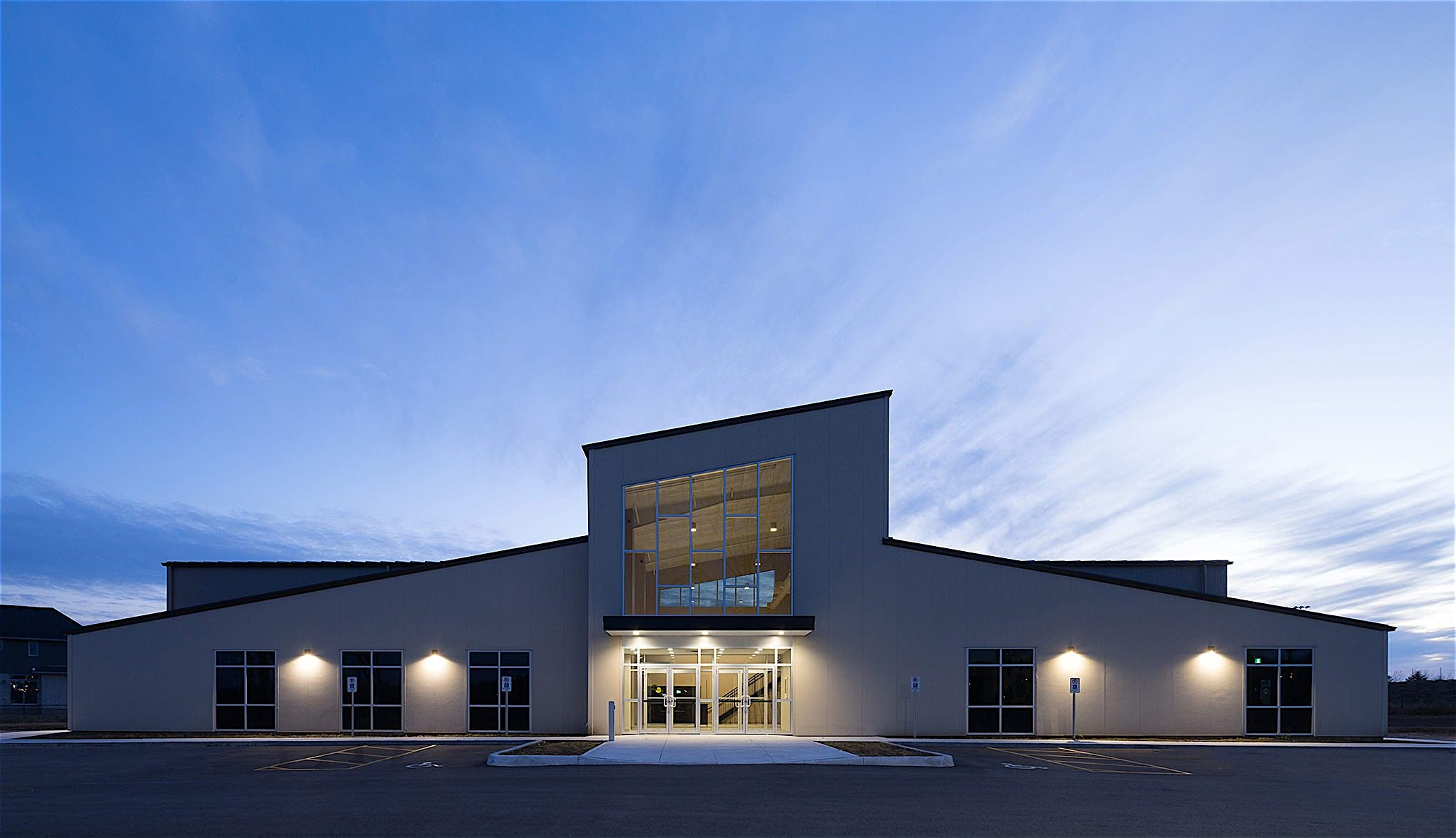 Bethel Pentecostal Church by Grassmere Construction LTD. Architectural Twilight Building Photography by Scott Webb