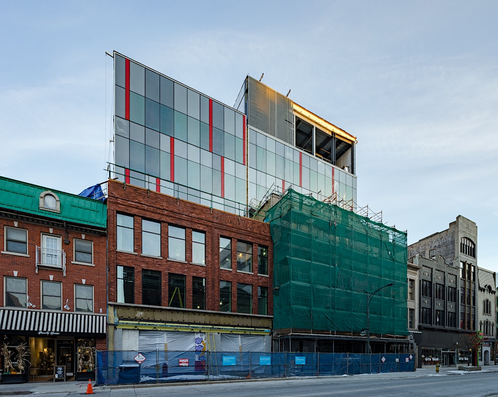 Construction photography of in-progress Fanshawe London Downtown Campus Phase II