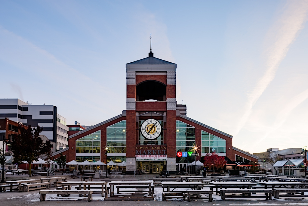Covent Garden Market at Sunrise in Autumn with Snow Downtown London Ontario