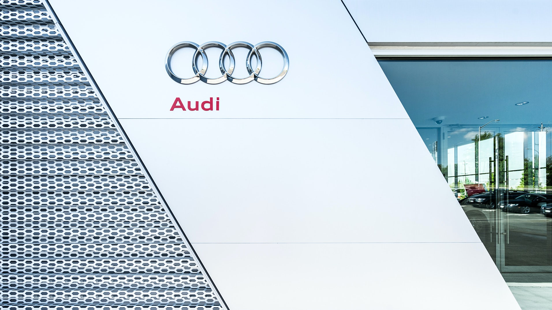 Detail images of the exterior architecture of the Audi Dealership in London by atrr