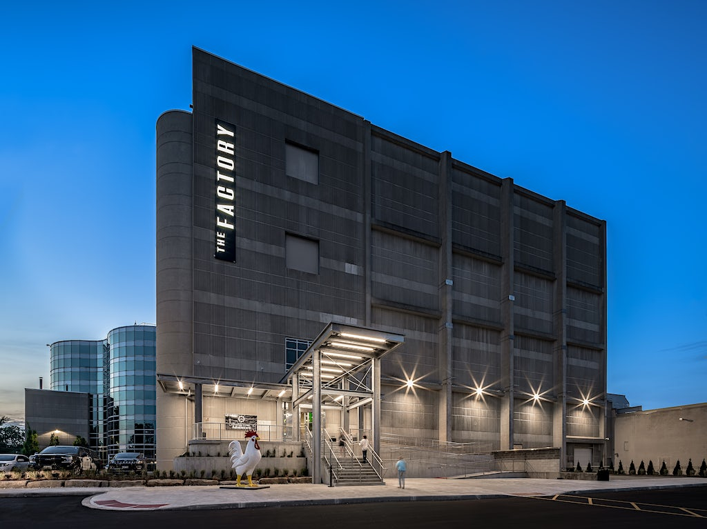 Twilight Photo of The Factory London Ontario with exterior lights on