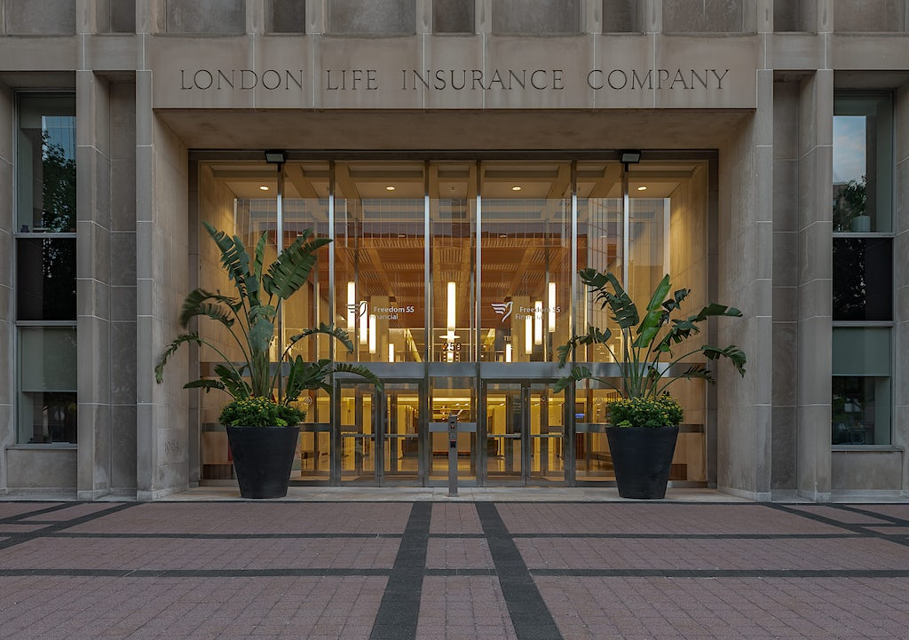 Alternate crop of Entrance to London Life/Freedom 55