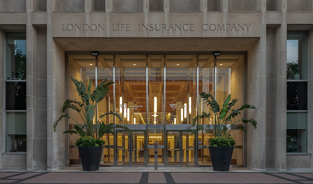 Crop version of the Freedom 55 entrance at london life building