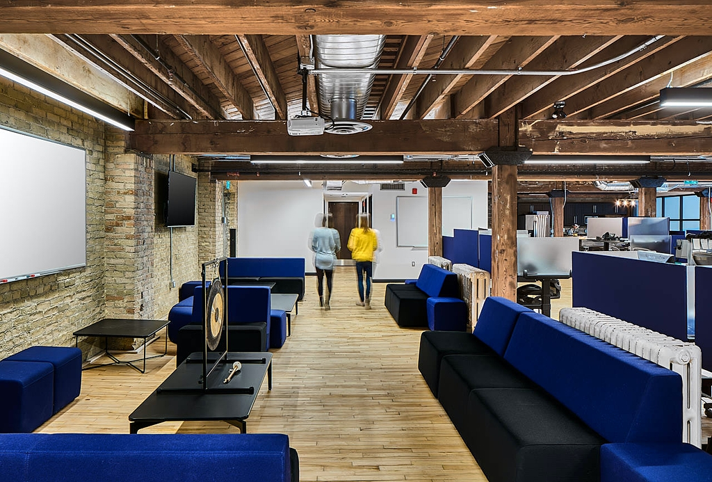 Blue level floor within the info-tech office in london Ontario