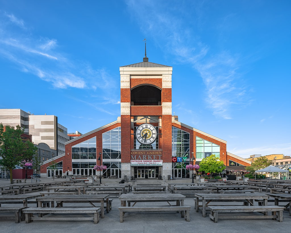 Late Spring, Late day photo of the Covent Garden Market, London, Ontario