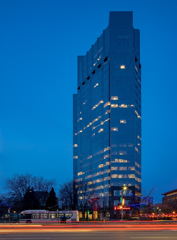 One London Place during blue hour