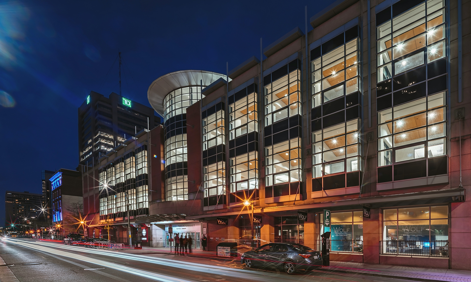 Twilight / Night photography of the downtown library in London Ontario