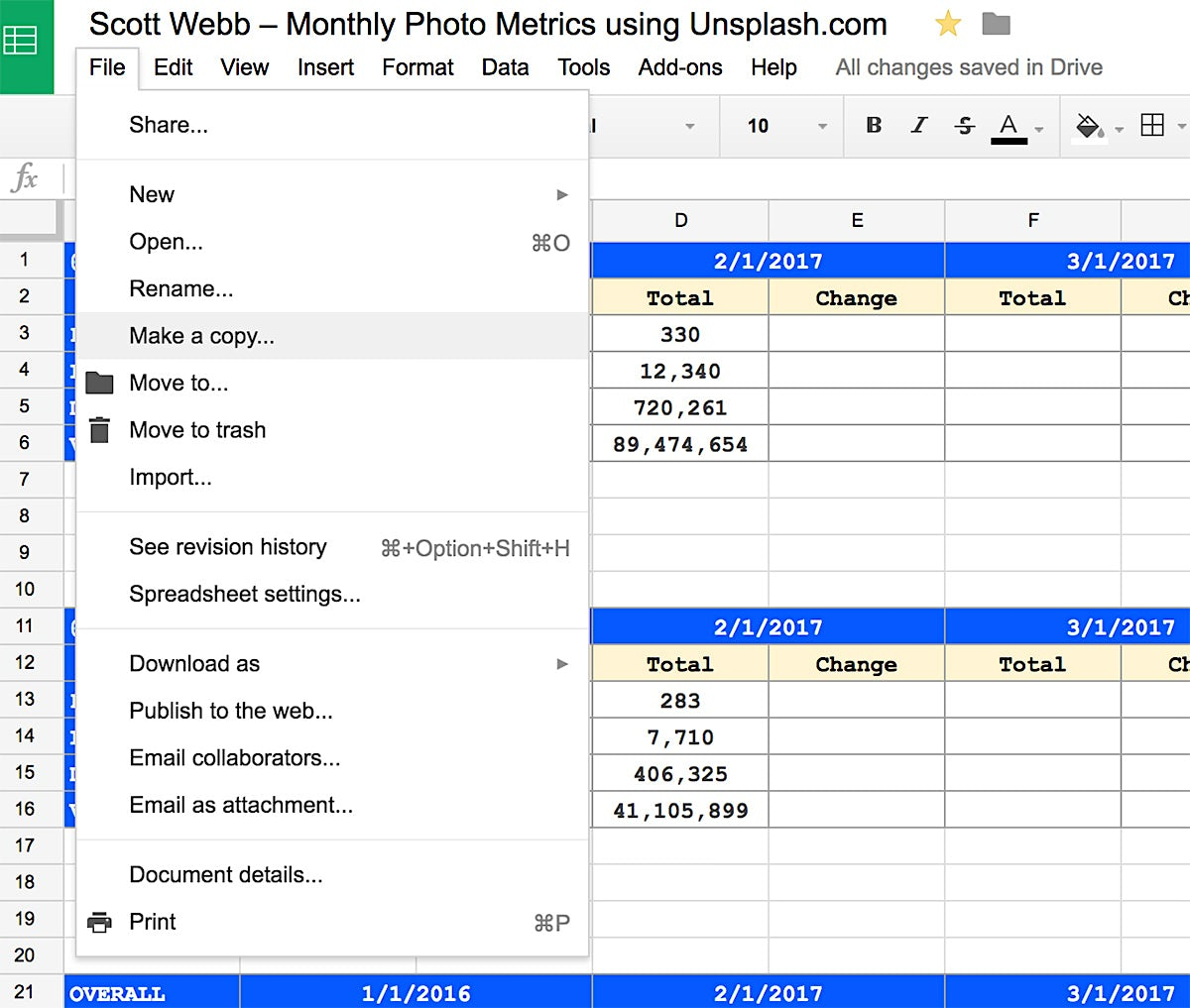 How to make a copy of spreadsheet to track your stats on Unsplash in 2017