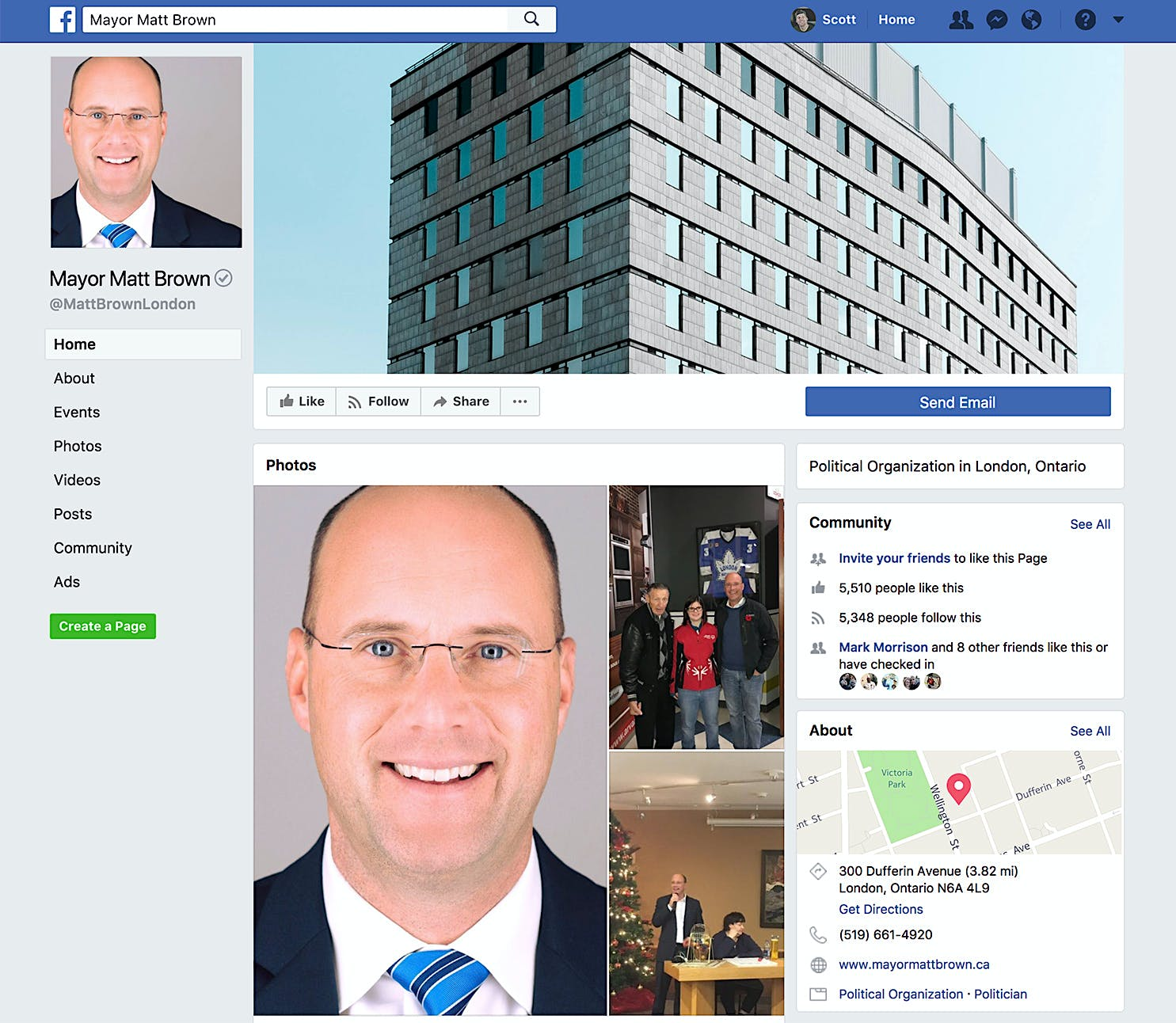 Mayor Matt Brown using one of my Architectural Photos shot in London