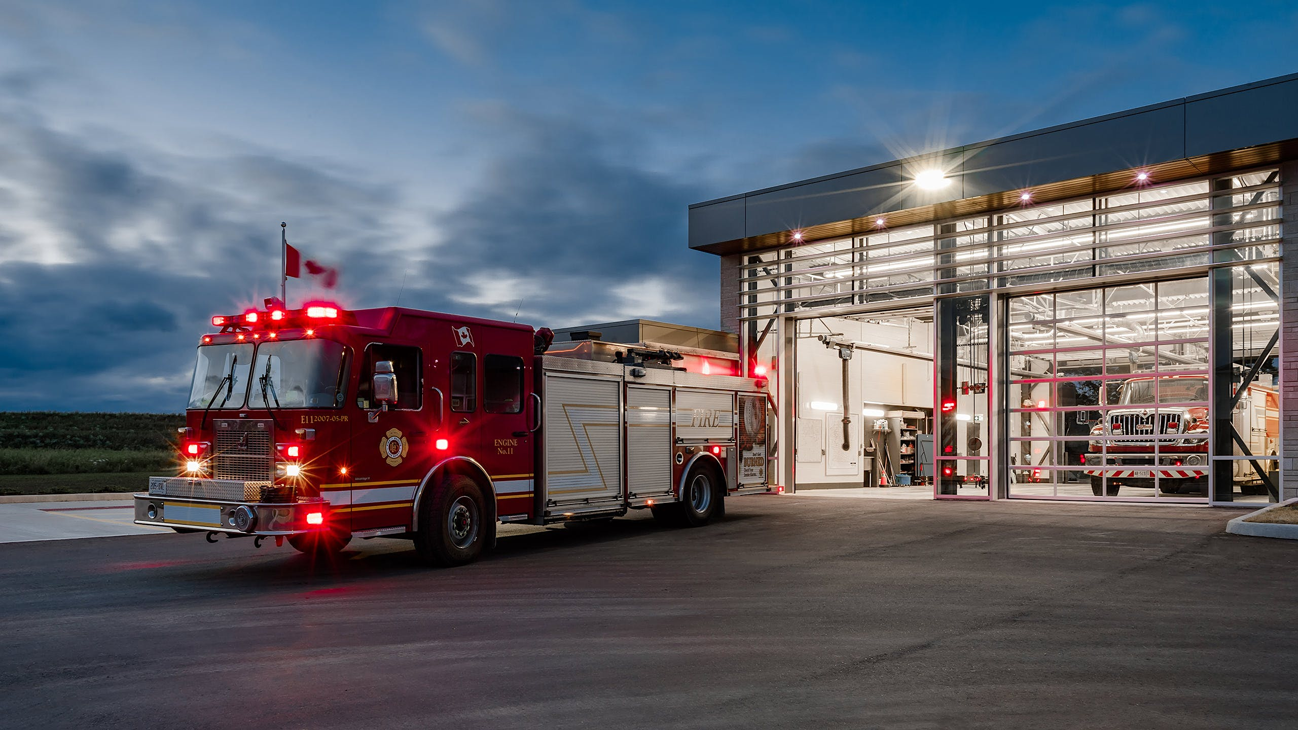 Architecture photo of the exterior of a fire station