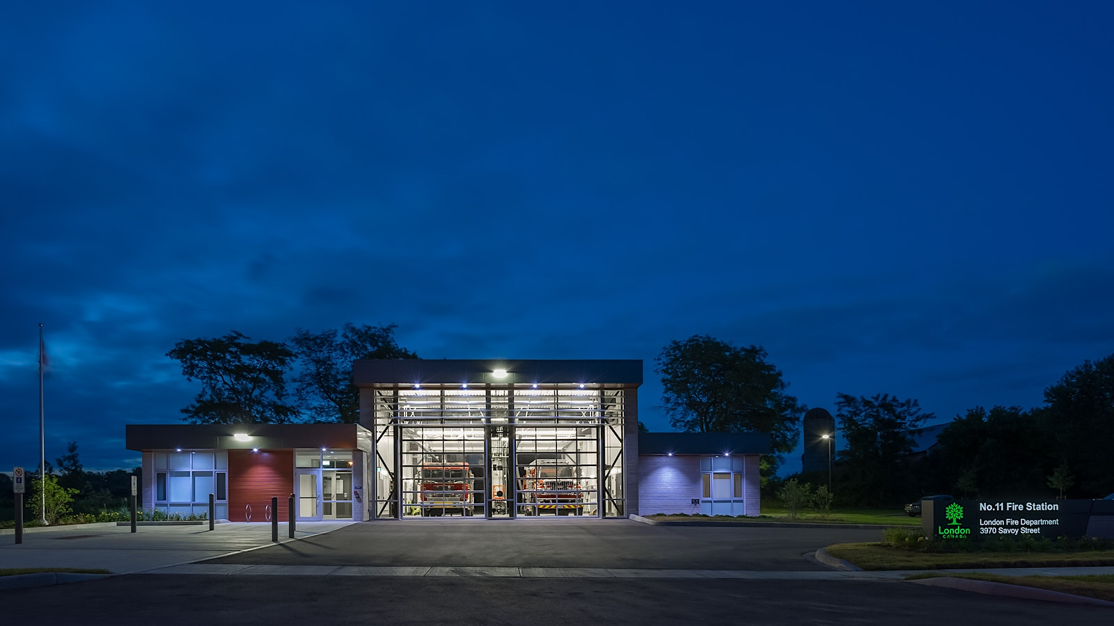 Twilight architectural photo of No.11 Fire Station by Scott Webb Photography