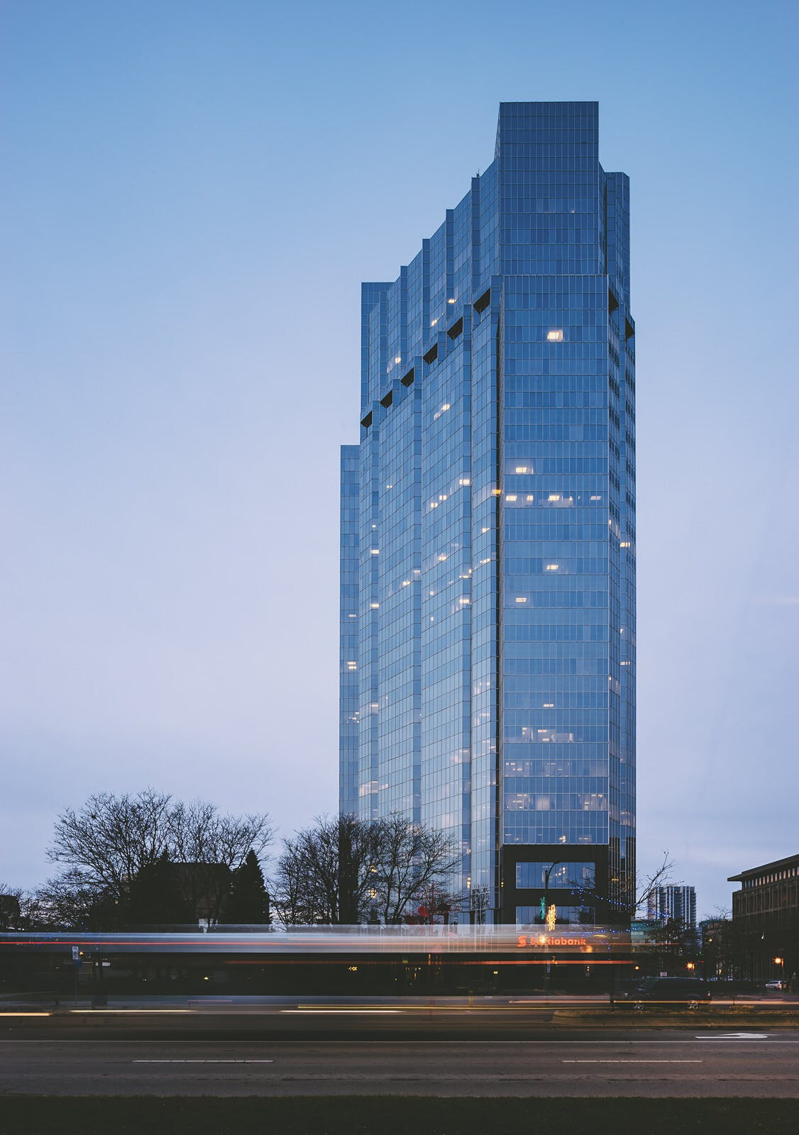 Sunrise and One London Place in London Ontario by Architectural Photographer, Scott Webb