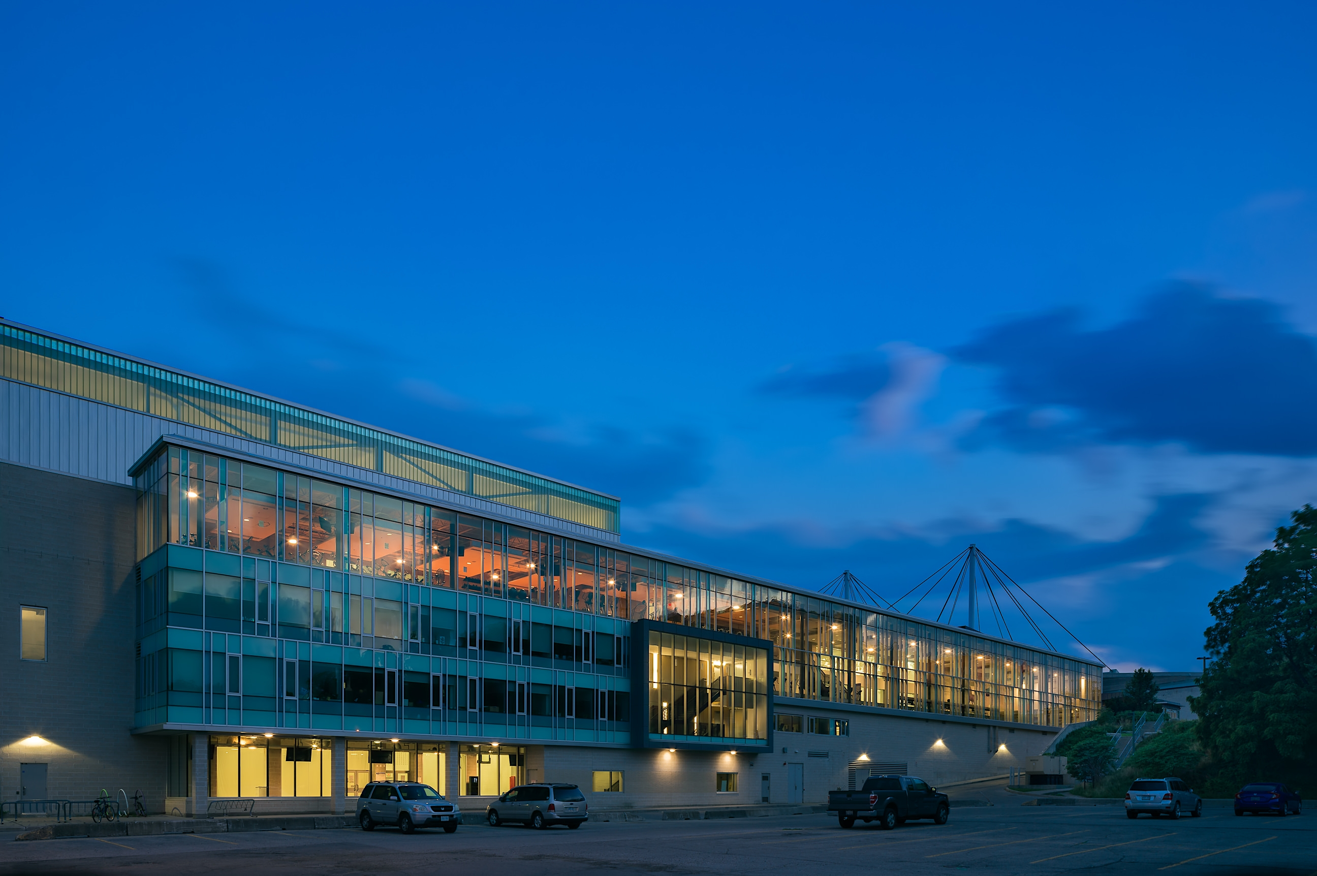 Western Student Recreation Centre at twilight in London Ontario