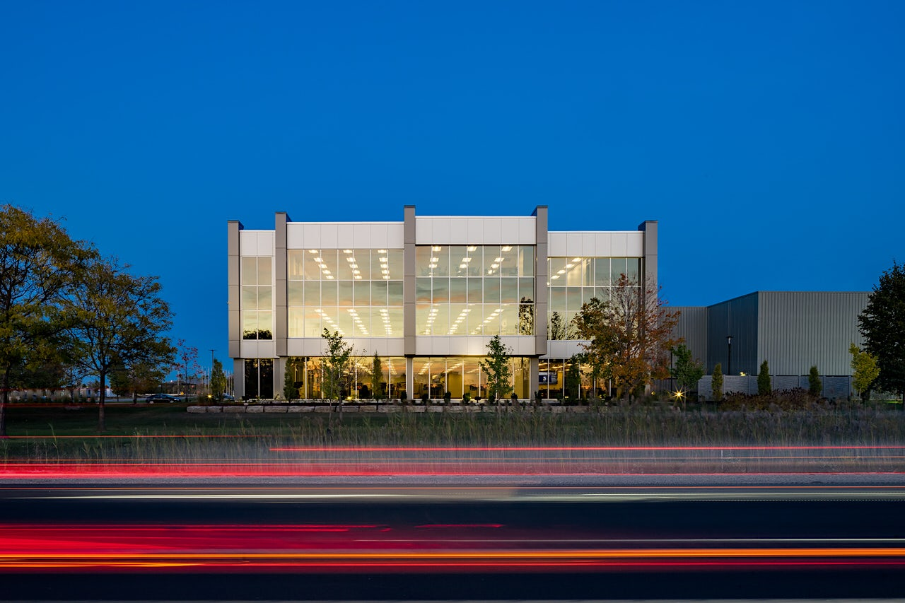 Straight on architectural twilight photo of StarTech in London Ontario Canada