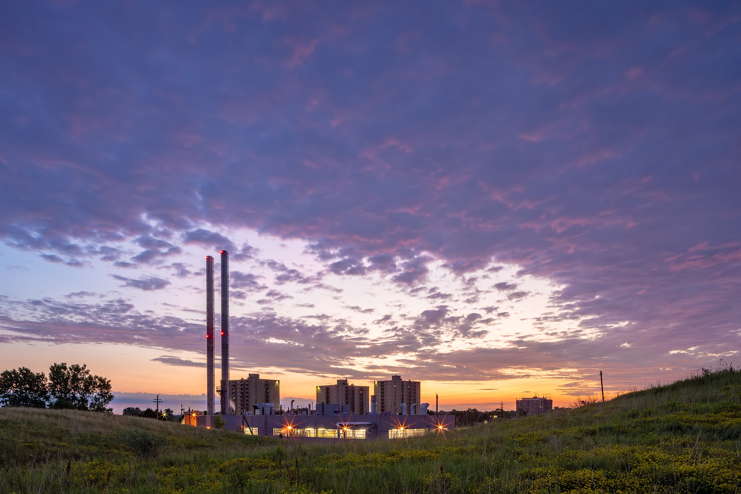 Victoria Hospital Heating Plant at Sunrise in London Ontario