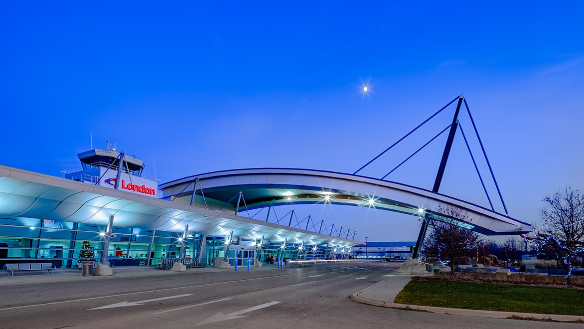 London International Airport Architectural twilight photo - yxu, London Ontario Canada by Scott Webb Photography